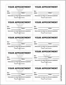 Appointment Card Template by Free Printable Appointment Sheet Calendar Template 2016