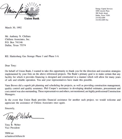 Bank Letter To Client Consulting Firm Dallas Tx