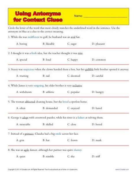 Synonyms And Antonyms Context Clues Worksheets by Using Antonyms For Context Clues Middle School Worksheets