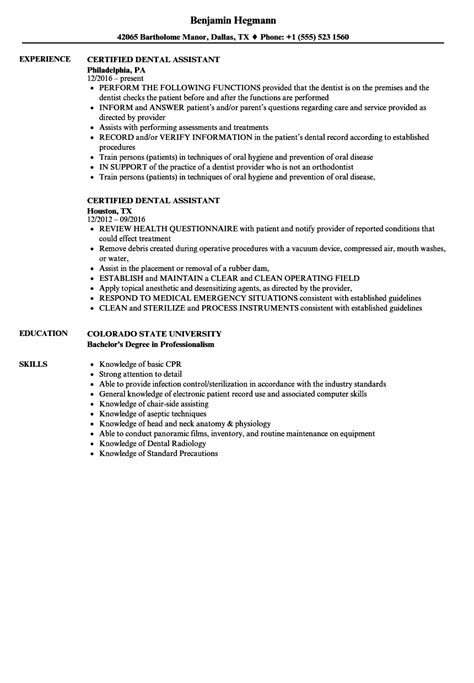 Certified Assistant Resume by Certified Dental Assistant Resume Resume Ideas