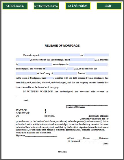 Mortgage Release Letter Template release of mortgage certificate by individual free