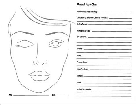 makeup chart template bartley esthetics 10 awesome blank charts