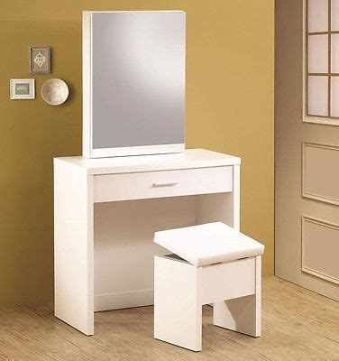 contemporary white bedroom vanity set table drawer bench ultra modern white finish wood vanity make up dressing