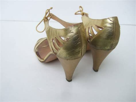 Demure But Gold Strappy Sandals From Accessorize by Maud Frizon Gold Leather Strappy Heels Made In Italy