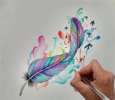 pluma tattoo dise 241 o pluma acuarela aquarelle quill design