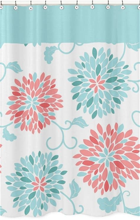 coral and turquoise shower curtain turquoise and coral emma kids bathroom fabric bath shower