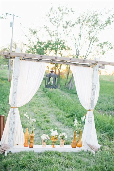 Wedding Arch Curtains by Lace Curtain And Wooden Ladder Arch By Weddings