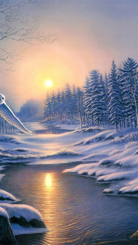 wallpaper for android winter winter landscape painting scenery android wallpaper free