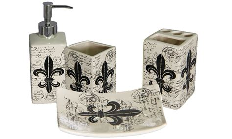 fleur de lis bathroom accessories set fleur de lis 4 piece bath set groupon goods