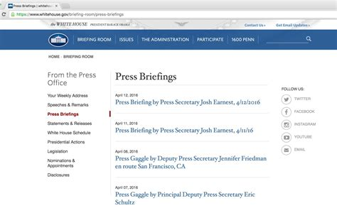 collect the lists of white house press briefings computational journalism 2016