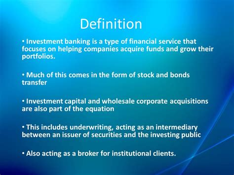 investment bankers definition of investment bank in money and capital market ppt