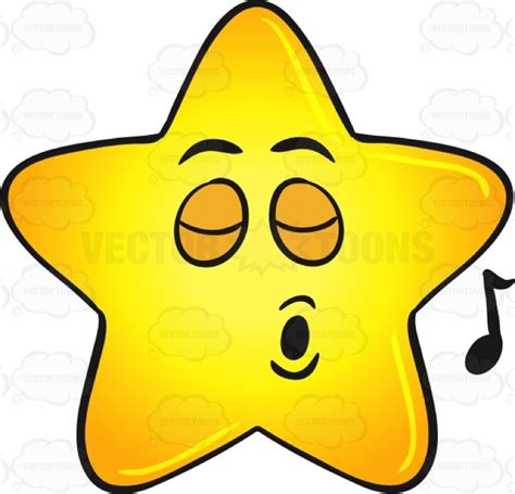 singing emoji cartoon clipart single gold star singing pleasureably emoji
