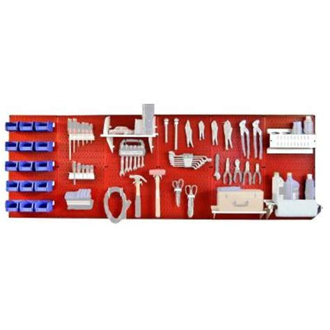 wall 8 ft metal pegboard master workbench kit
