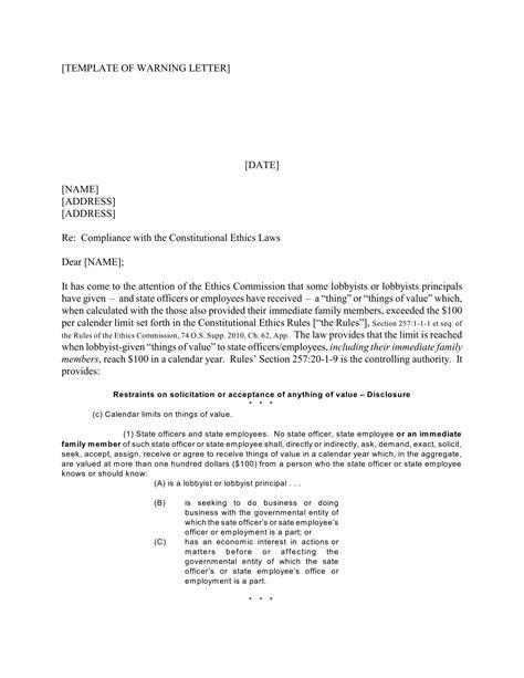 employee warning letter examples google docs