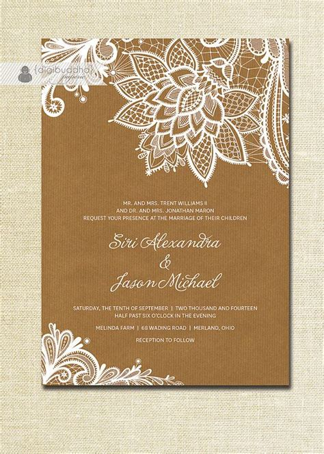 lace wedding invitation kraft shabby chic rustic wedding