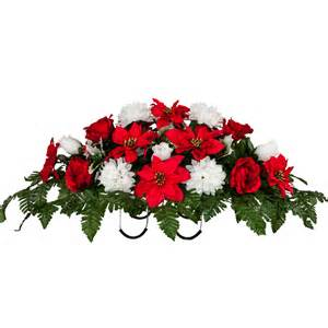 Red poinsettia with white mums and roses sd1688