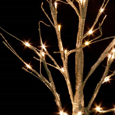 Pre Lit Gold Glitter Paper Twig Tree 125cm With 48 Warm Gold Tree Lights
