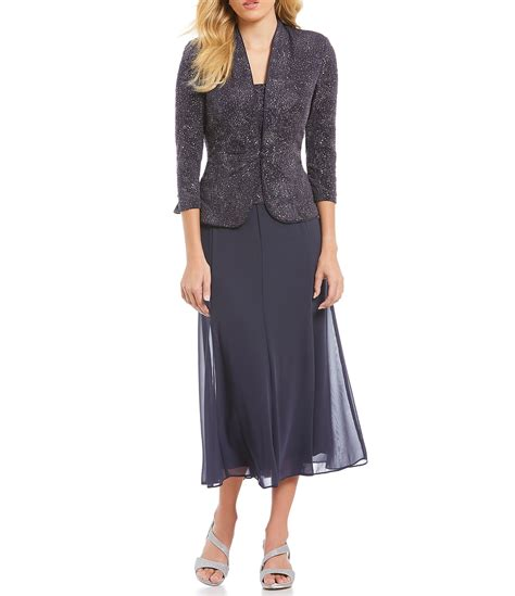 6561 Dress Jaket Coat alex evenings jacquard tea length jacket dress dillards