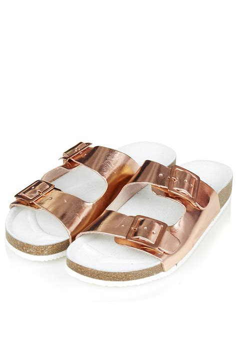 Gc G3000 Gold Purple Leather topshop fancie buckle sandals gold in pink lyst