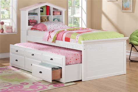 Kid Trundle Bed Set F9223 Bedroom 3pc Set By Poundex In White W Trundle Bed