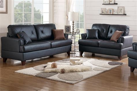 Black Sofa And Loveseat Set by Poundex Beaufort F6876 Black Leather Sofa And Loveseat Set