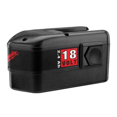 resetting milwaukee battery milwaukee 18 volt 2 4ah ni cd battery pack 48 11 2230