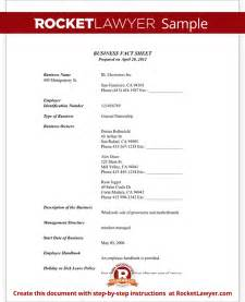 Company Fact Sheet Template by Business Fact Sheet With Template Sle