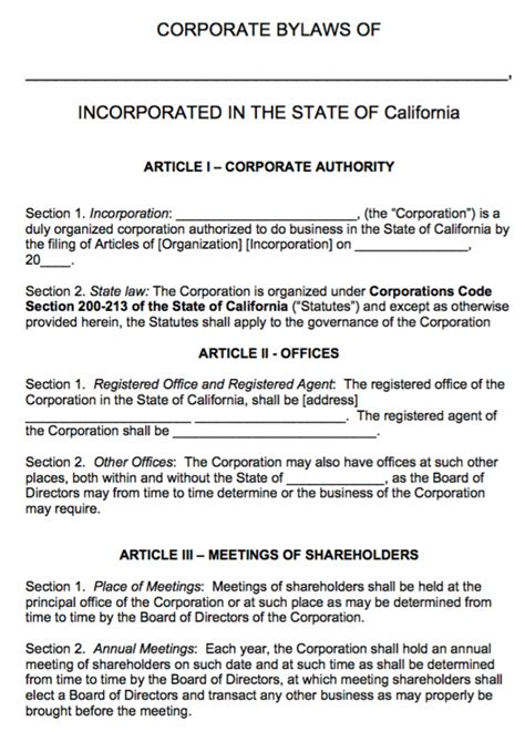 Free California Corporate Bylaws Template Pdf Word Corporate Bylaws Template
