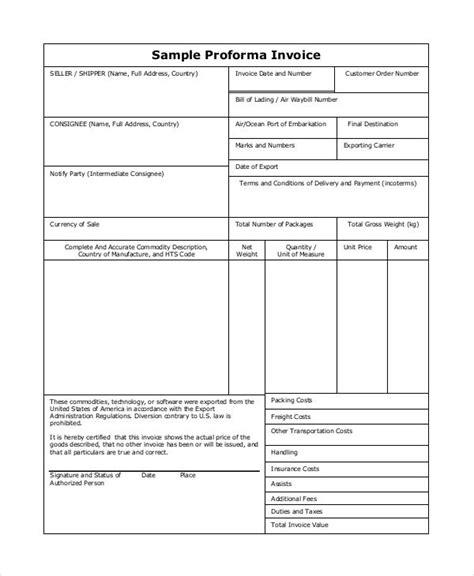 proforma invoice customs proforma invoice international invoice no