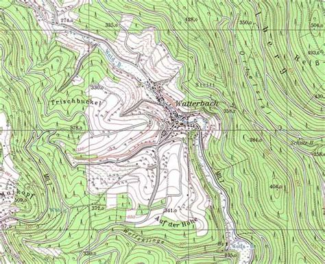 topographic map germany amorbach bayern deutschland