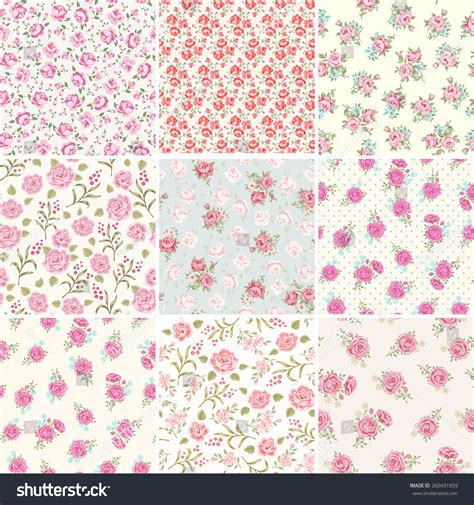 shabby chic patterns floral seamless vintage pattern set shabby chic