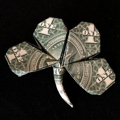 Origami Four Leaf Clover Dollar Bill - money origami lucky four leaf volume clover real by