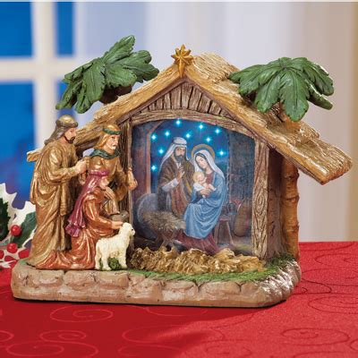 fiber optic nativity manger figurine from collections etc