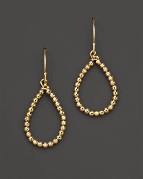 gold bead earrings lyst mizuki 14k yellow gold faceted bead small teardrop