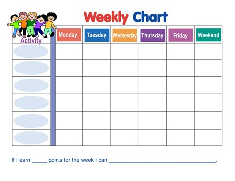 charts templates 7 best images of weekly sticker charts printable free
