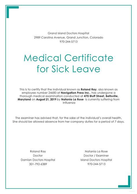medical certificate sick leave certificate