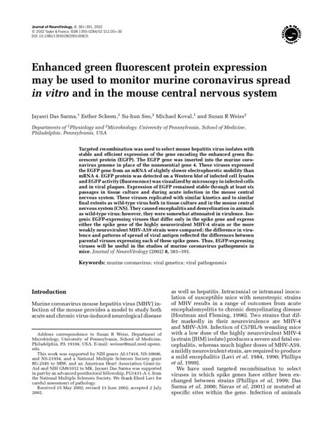 (PDF) Enhanced green fluorescent protein expression may be