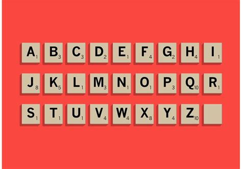 scrabble out scrabble letter tiles set free vector