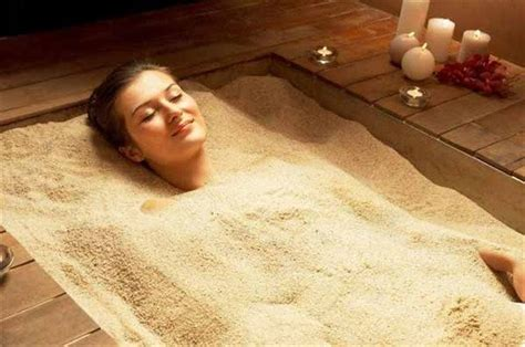 Detox in a hot sand bath. The fine beach sand used in the