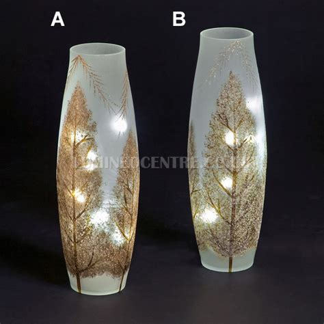 snowtime 20 led white illuminated glass glitter trees