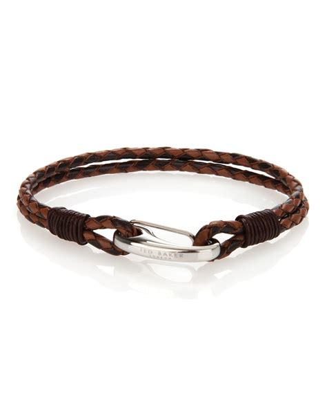ted baker twobee plaited twostrand bracelet in brown for
