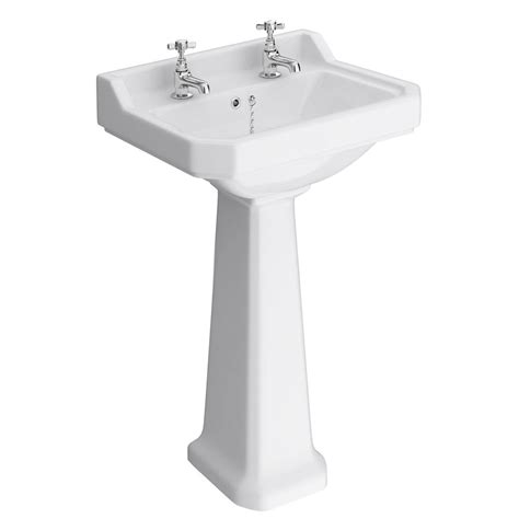 traditional bathroom basin premier carlton 2 tap hole basin with pedestal at