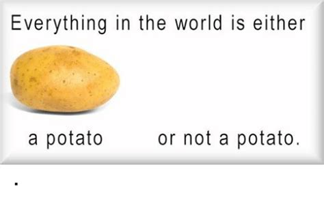 Meme Potato - everything in the world is either or not a potato a potato