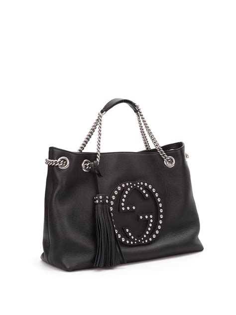 soho studded leather shoulder bag  gucci totes bags