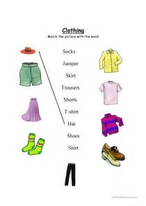 clothing worksheet match and wordsearch worksheet free