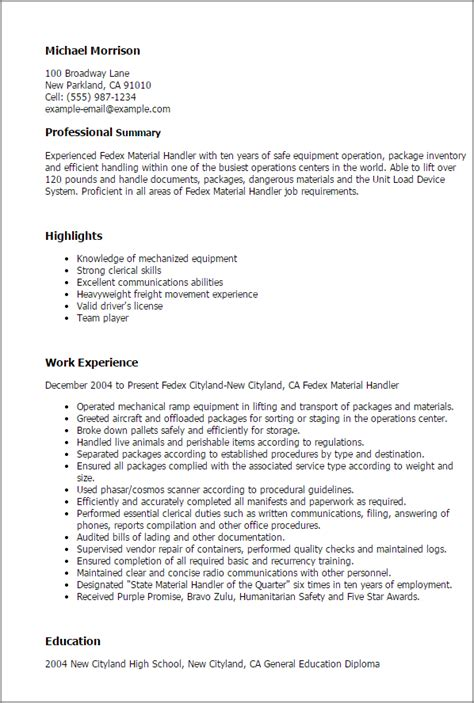 material handler resume professional fedex material handler templates to showcase