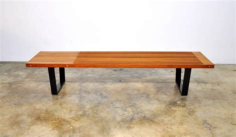 mid century modern slat bench mid century modern george nelson style slat bench at 1stdibs