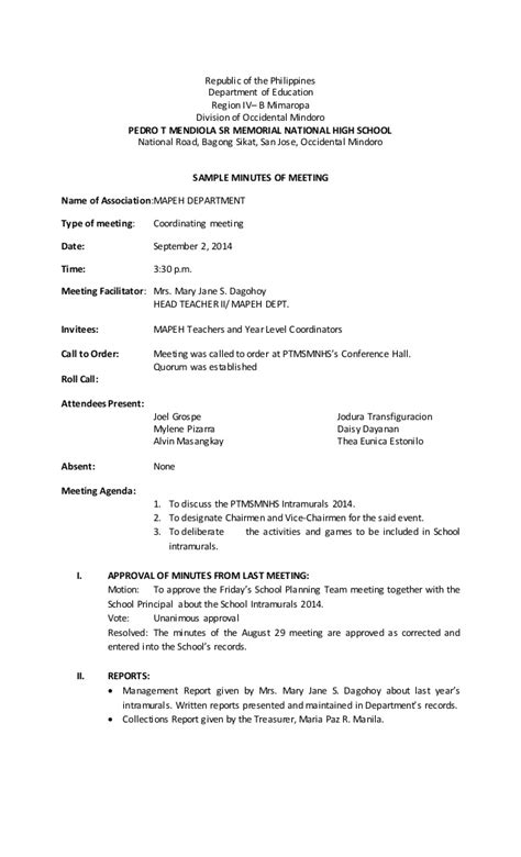 format for minutes of meeting template sle minutes of meeting