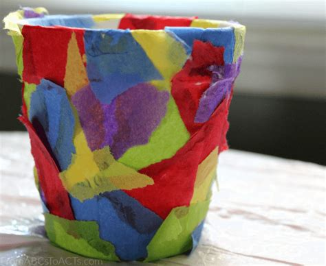 How To Make Paper Flower Pots - tissue paper flower pot springtime crafts for