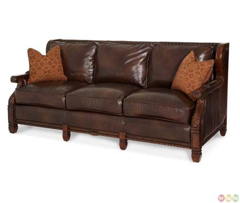 loveseat upholstery michael amini windsor court leather and fabric wood trim